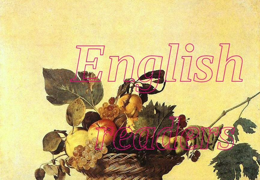 Basket of fruit by Caravaggio as a banner for a post, English readers pink writing