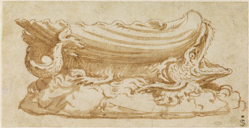 Disegno per una saliera d'argento di Giulio Romano ; Design for a silver saltcellar by Giulio Romano