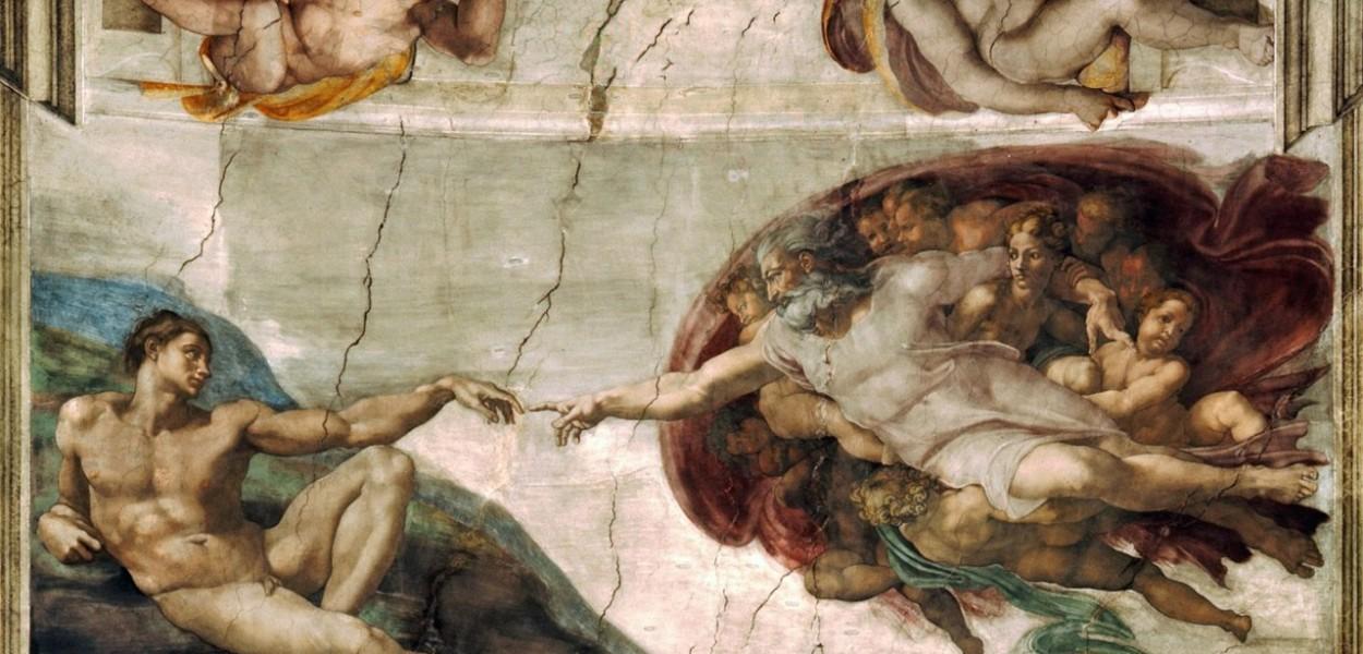 Michelangelo Buonarroti, La creazione di Adamo, Roma, Particolare della volta della Cappella Sistina, tra il 1508 e il 1512